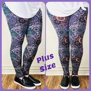 Pants - 💜 NWT PLUS SIZE PURPLE/TURQ GEO  LEGGINGS